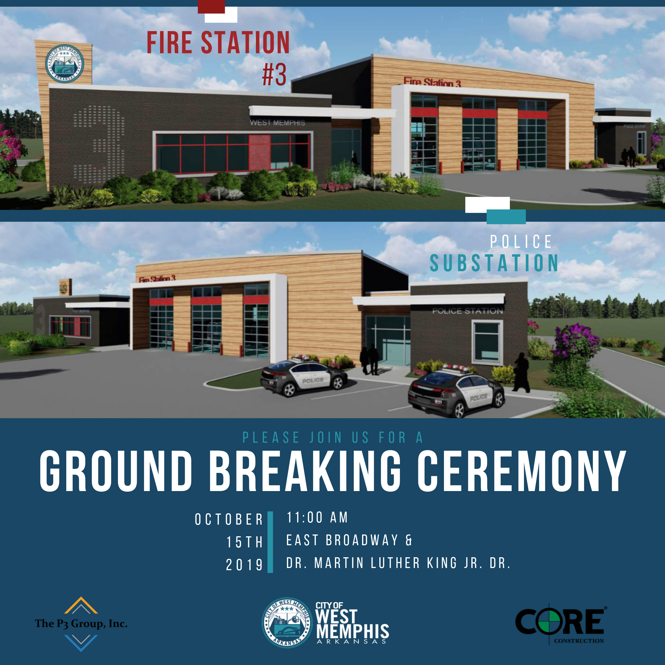 west memphis fire department ground breaking ceremony invitation