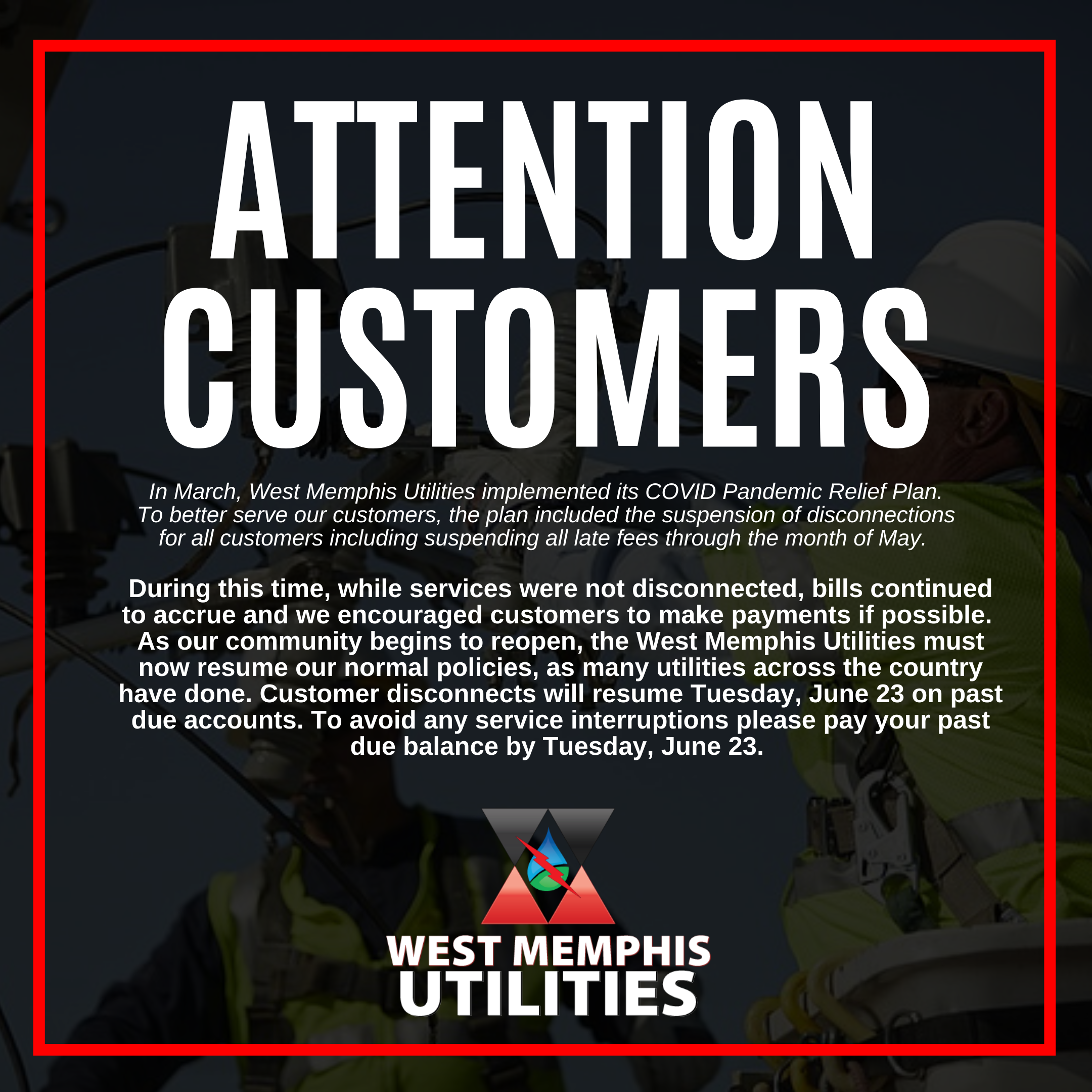 West Memphis Utilities Disconnect Notice
