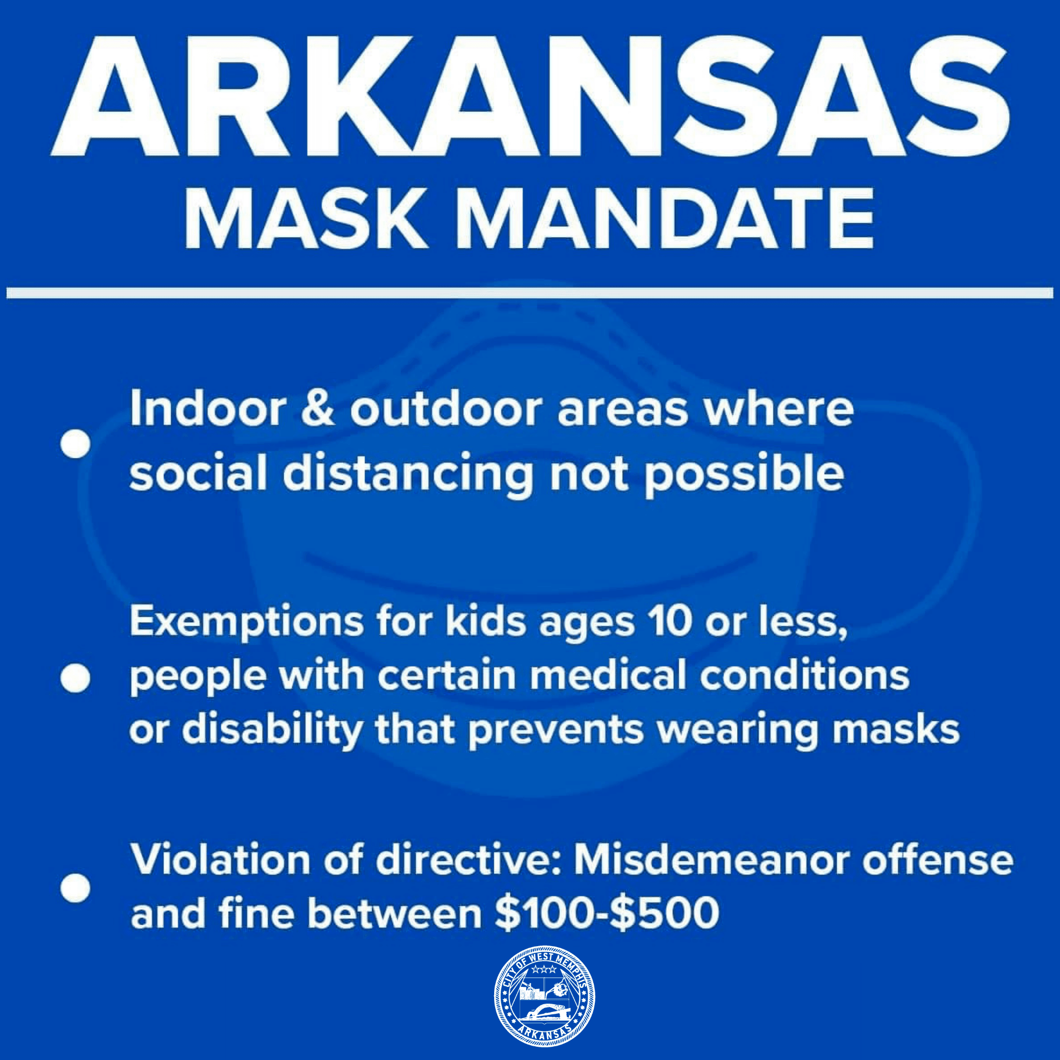 Arkansas governor issues statewide mask mandate